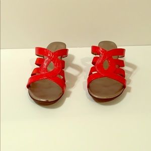 Coral slip on sandals with wedge like heel 8M